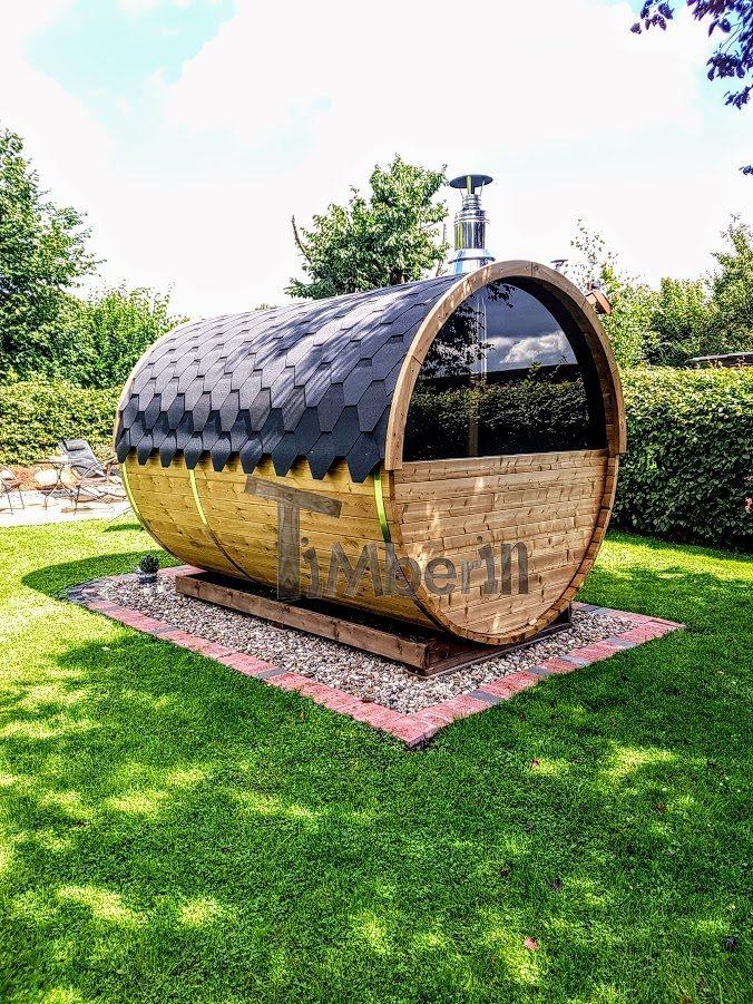 Barrel Sauna Met Half Panoramisch Raam