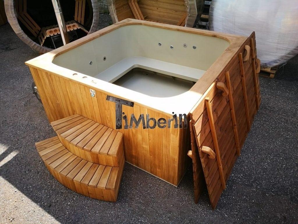 Kunststof hottub vierkant micro zwembad timberin for Zwembad kunststof